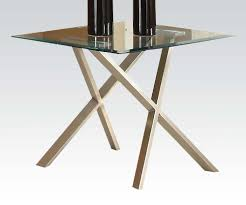 Acme Seble Chrome Plated Glass Top End Table