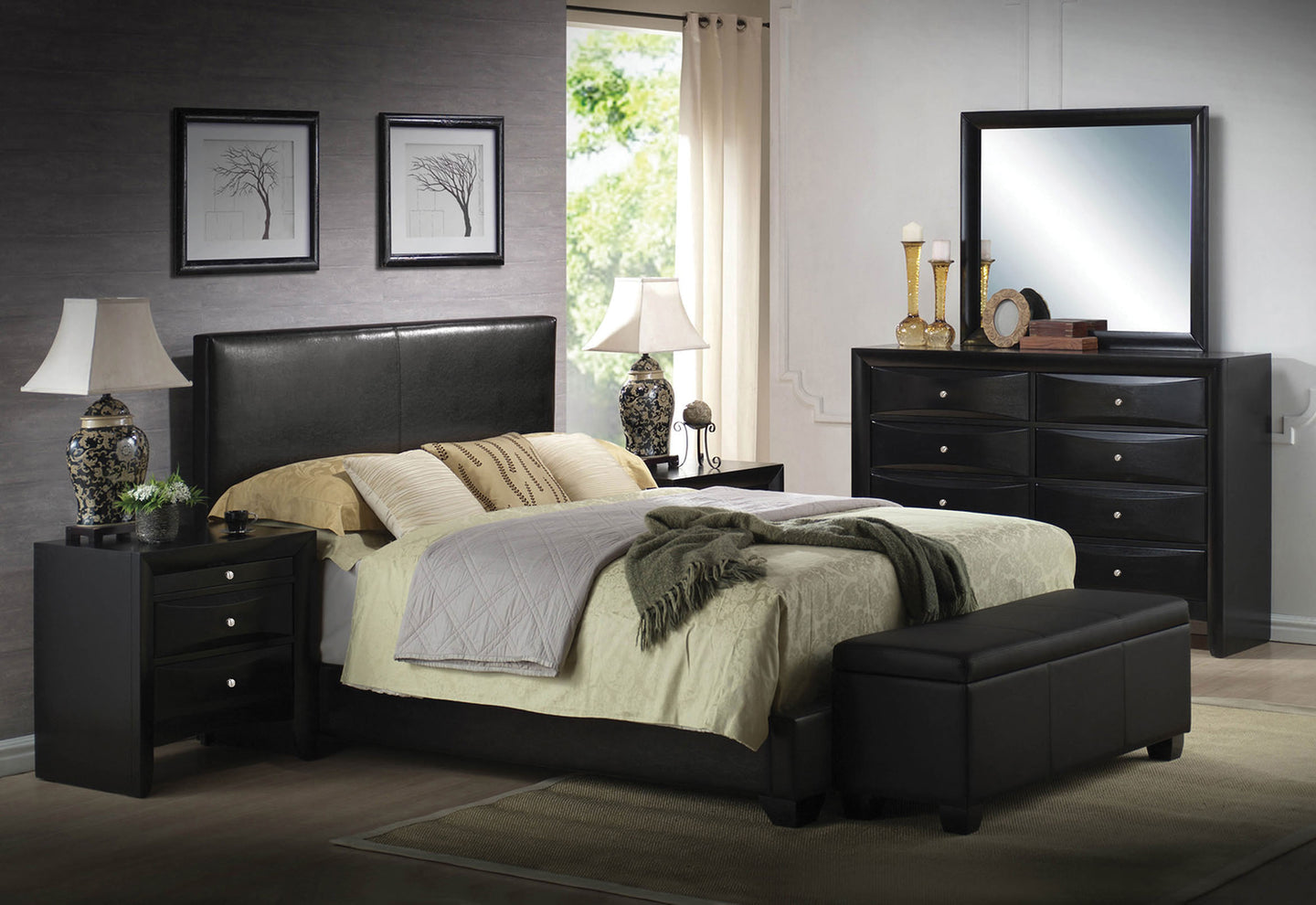 Acme Ireland Black Pu Wood King Platform Bedroom Set
