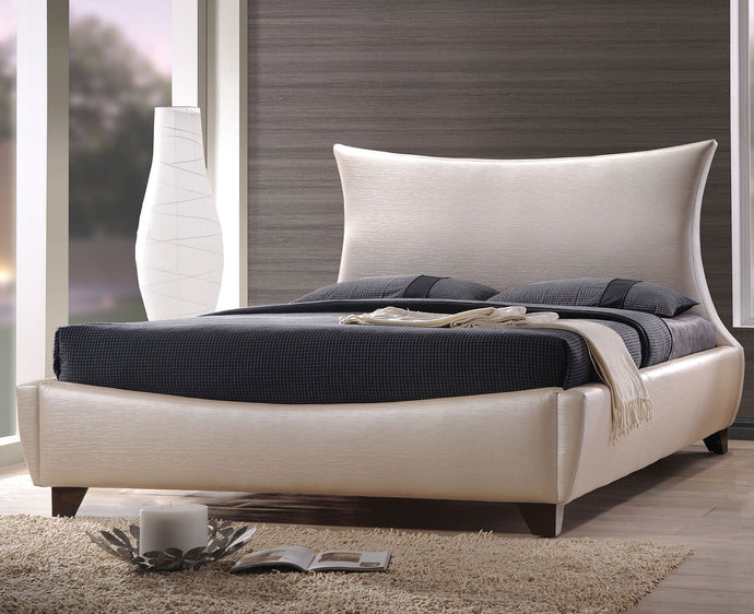 Acme Galton Pearl White PU Leather Finish Eastern King Platform Bed
