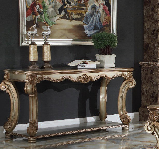 Acme 83002 Vendome Traditional Gold Patina Bone Sofa Table