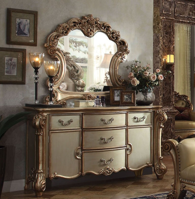 Acme Vendome Gold Patina Bone Wood Finish Dresser With Mirror
