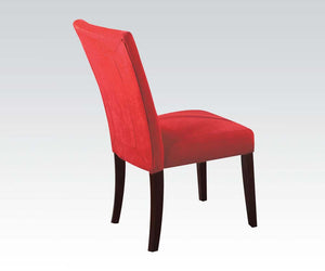 Acme Baldwin Red Microfiber And Wood Finish 2 Piece Dining Chair