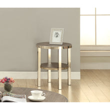 Load image into Gallery viewer, Acme Elwyn Round Walnut Brush Nickel End Table