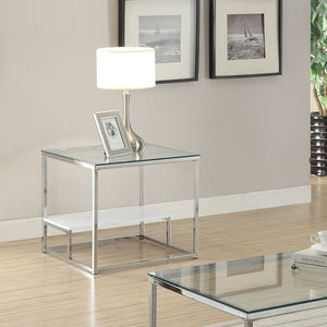 Acme Ruben Clear Glass Chrome End Table