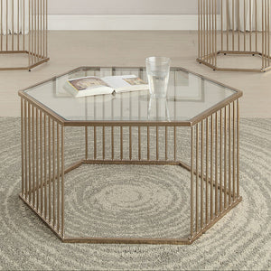 Acme 81240 Oaklie Champagne Clear Glass Coffee Table