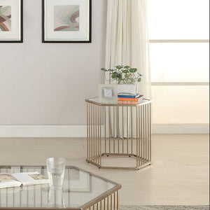 Acme Oaklie Champagne Clear Glass End Table