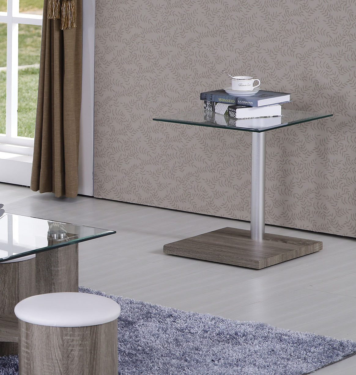Acme Haden Dark Grain Clear Glasss End Table
