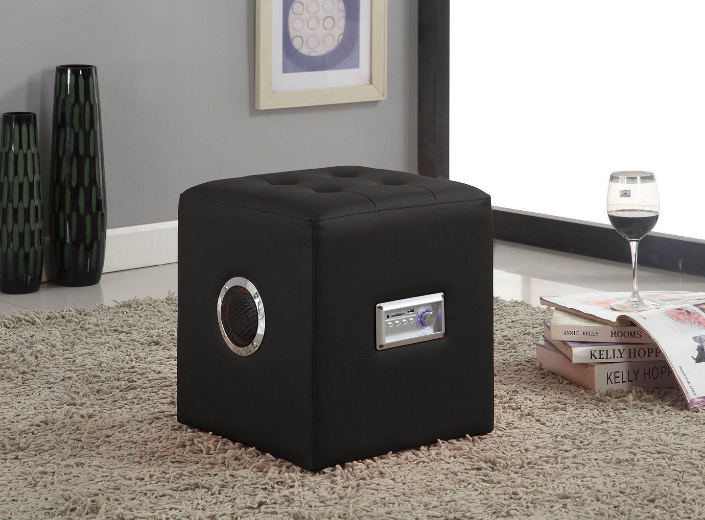 Acme Laila Black Pu Bluetooth Speaker Sound Lounge Ottoman