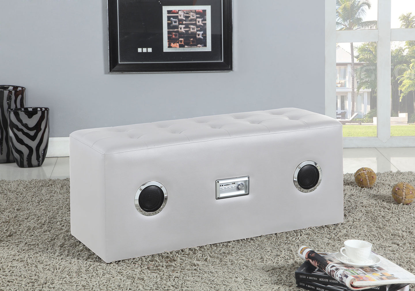 Acme Laila White PU Bluetooth Speaker Sound Lounge Bench