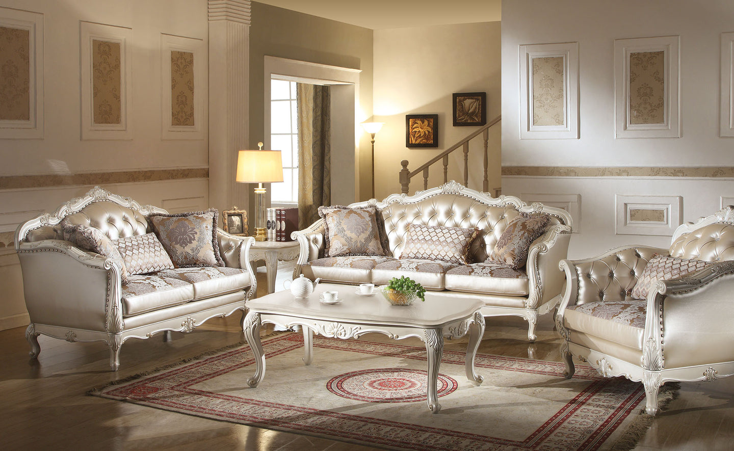 Acme Chantelle Rose Gold PU Fabric Pearl White Sofa Set