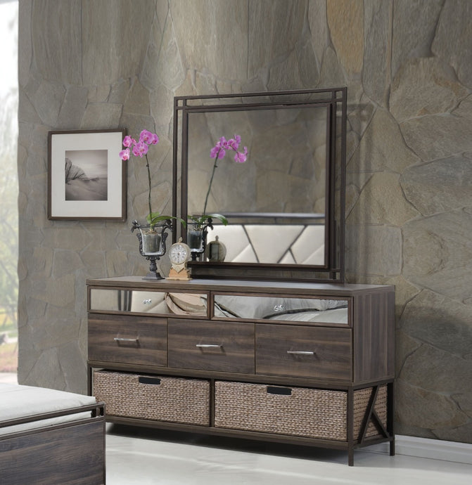 Acme Adrianna Walnut Wood Drawer Finish Dresser and Mirror with Baskets