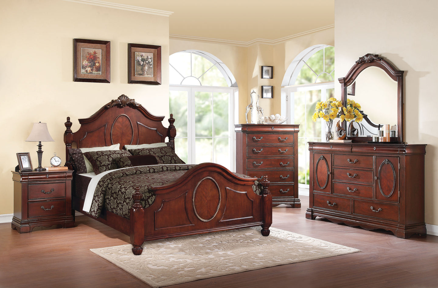 Acme Estrella Dark Cherry Queen Poster Bedroom Set