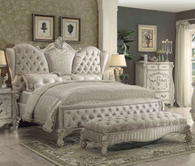 Load image into Gallery viewer, Acme Versailles Ivory Velvet Bone White Cal King Sleigh Bed