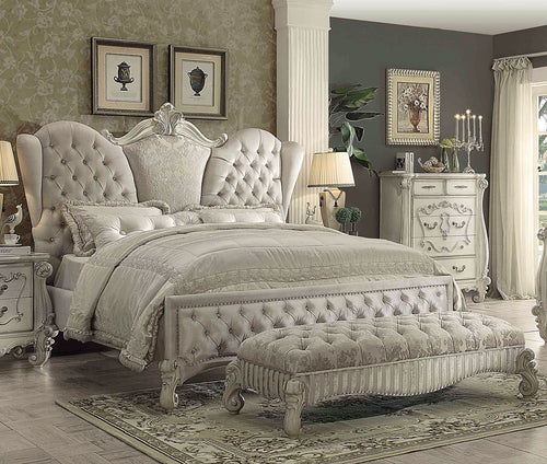 Acme Versailles Ivory Velvet Bone White Cal King Sleigh Bed