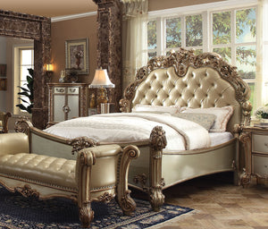 Acme 23000Q Vendome Traditional Gold Patina Bone Queen Sleigh Bed