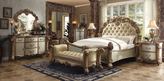 Acme Vendome Gold Patina Bone Cal King Sleigh Bedroom Set