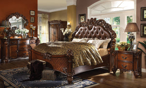 Acme Vendome Cherry Wood And PU Leather Finish 4 Piece Queen Bedroom Set