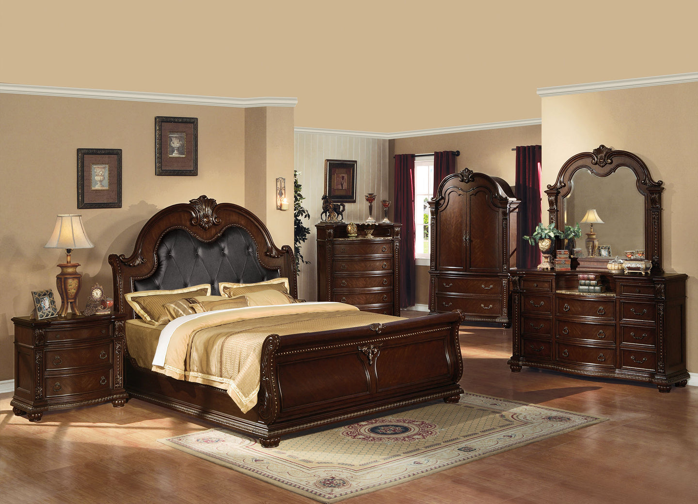 Acme Anondale Cherry Queen Sleigh Bedroom Set