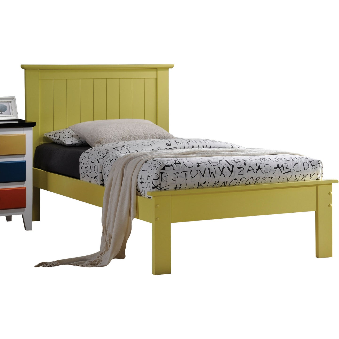 Acme Prentiss Yellow Queen Platform Bed