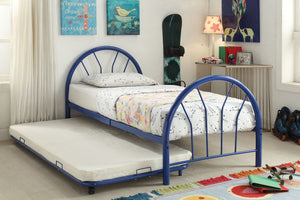 Acme Silhouette Blue Twin Trundle Metal Bed
