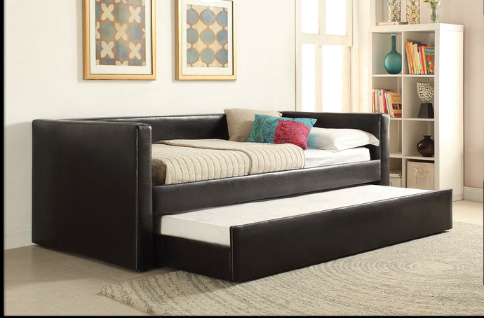 Acme 39140 Aelbourne Black Pu Wood Finish Contemporary Trundle Daybed