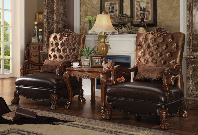Acme Dresden Golden Brown Velvet Cherry Oak Accent Chair Set