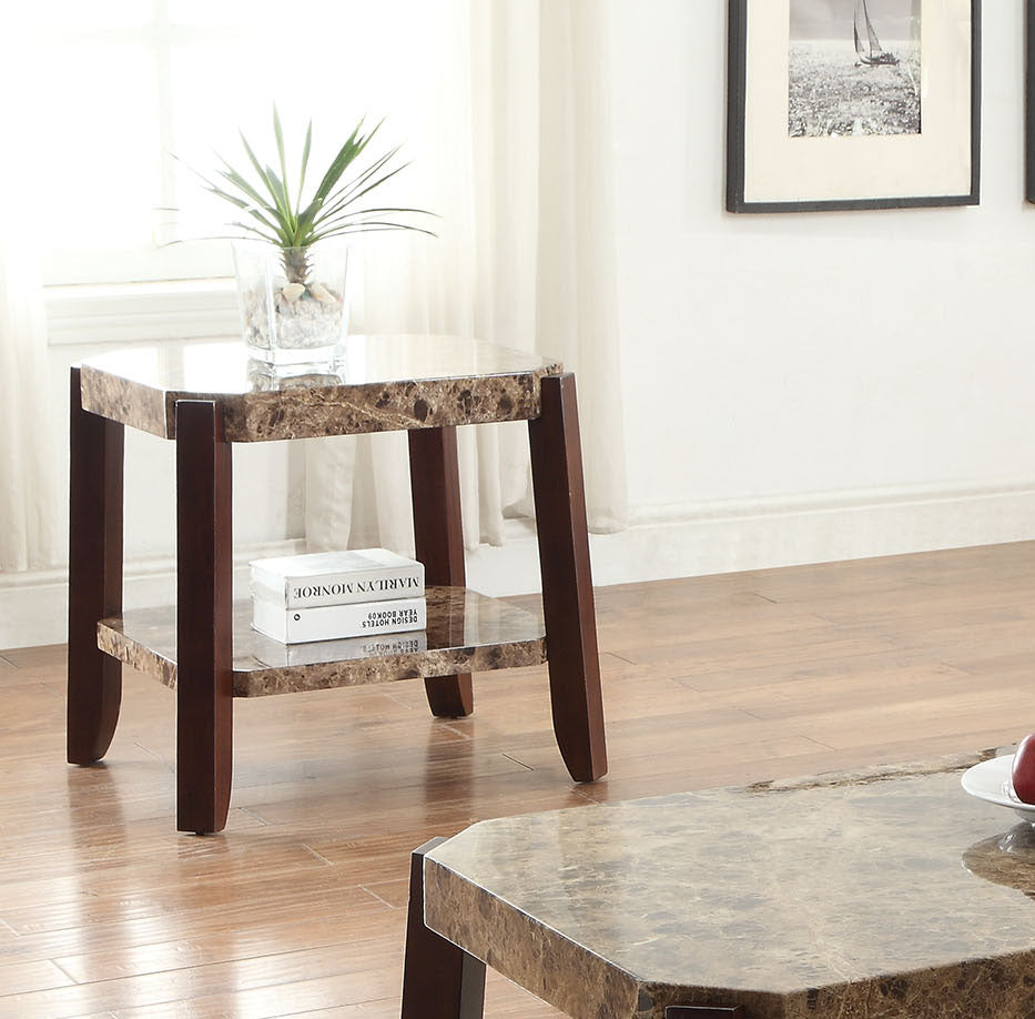 Acme Dacia Faux Faux Marble Brown End Table