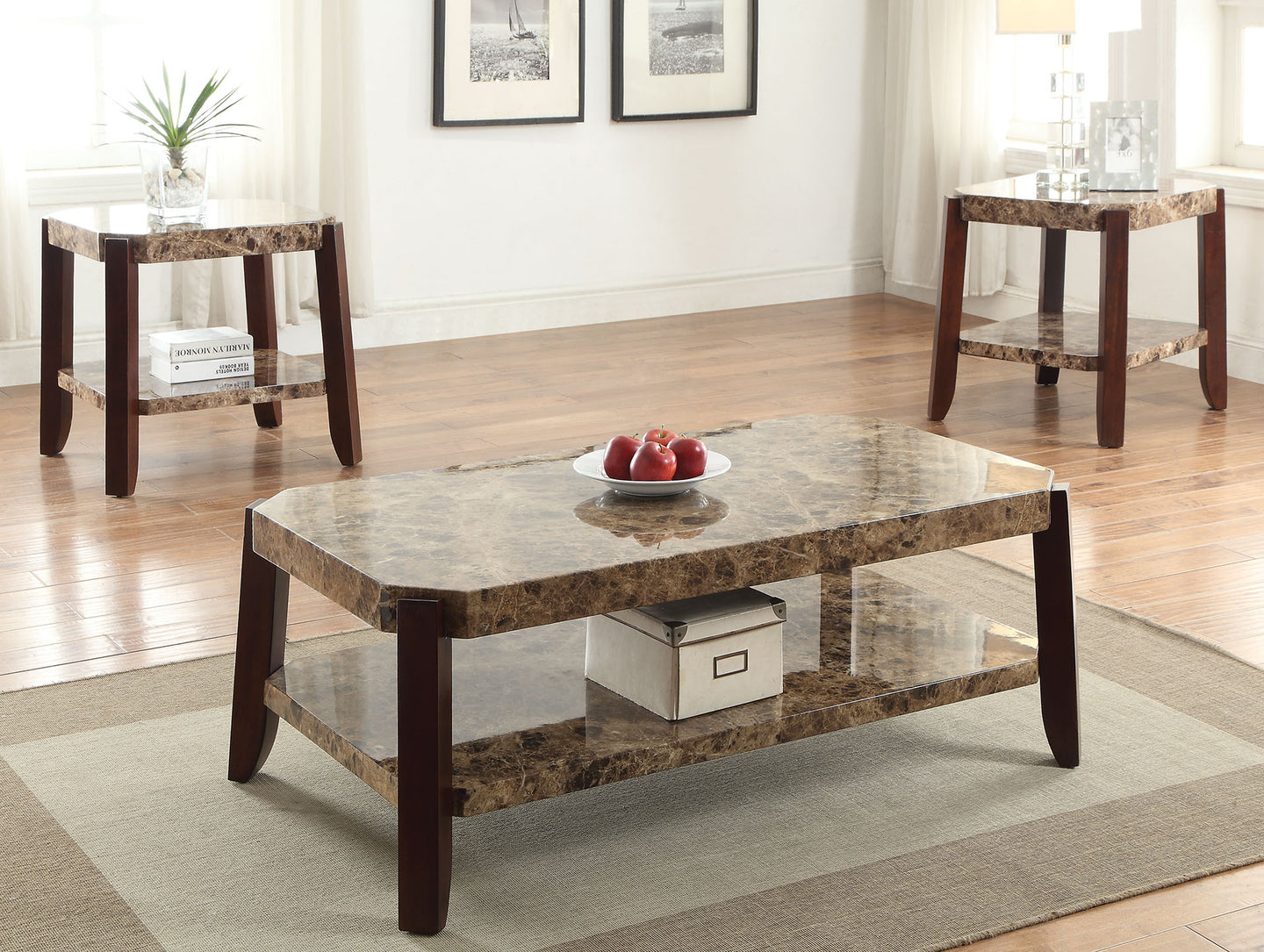 Acme Dacia Faux Faux Marble Brown Coffee Table Set