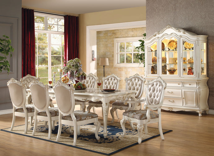 Acme Chantelle Faux Marble Top Pearl White Dining Table Set