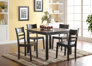 Acme Veles Black Wood Finish 5 Piece Dining Table Set