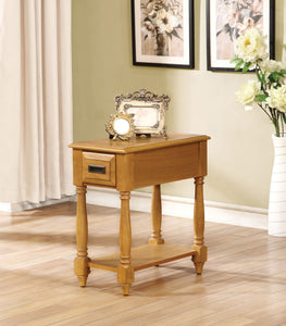 Acme Qrabard Light Oak Side Table with Drawer Shelf