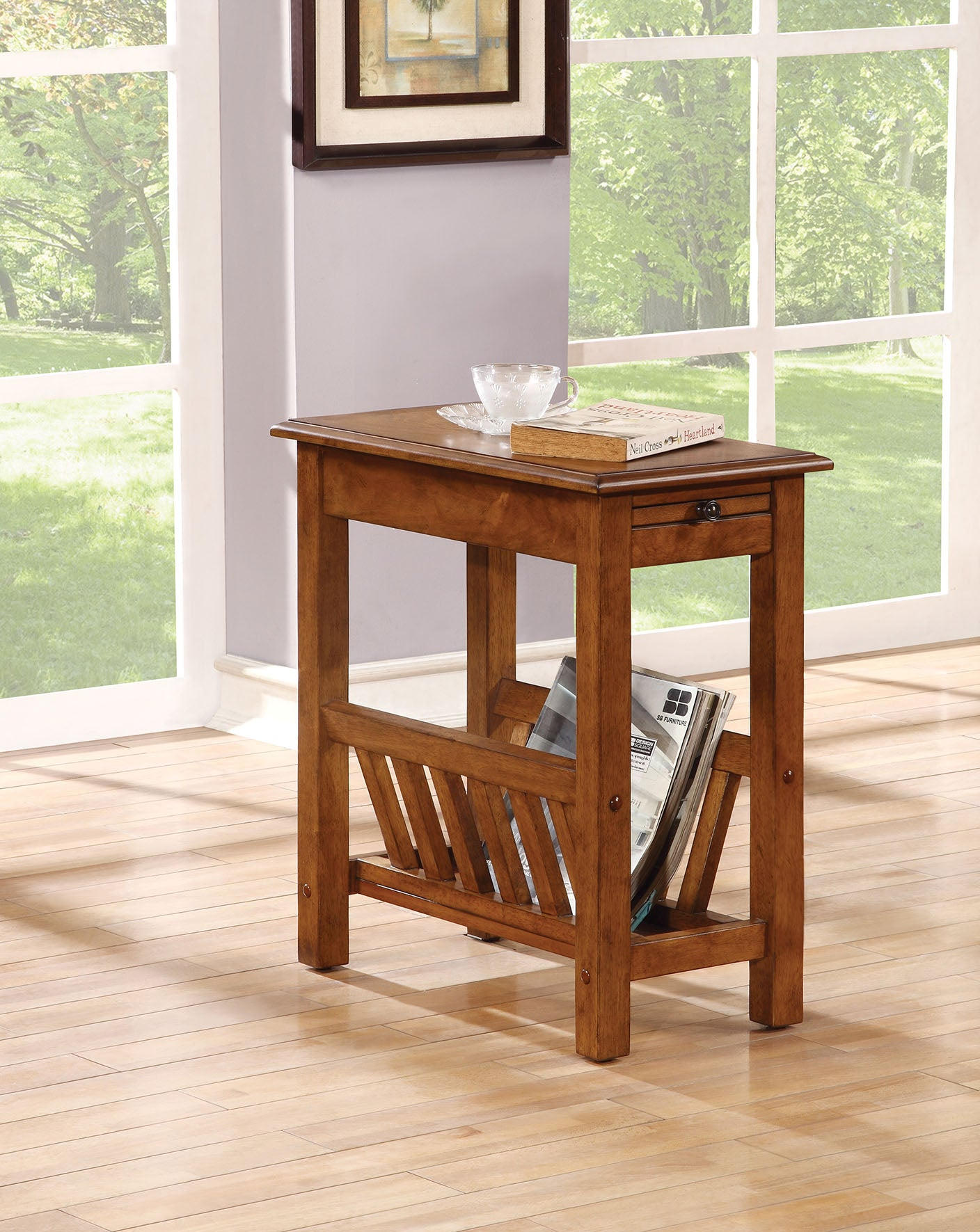 Acme Jayme Natural Oak Side Table with Shelf