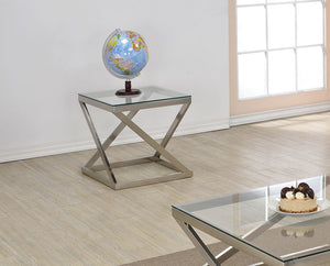 Acme 81142 Ollie Brushed Nickel Clear Glass End Table