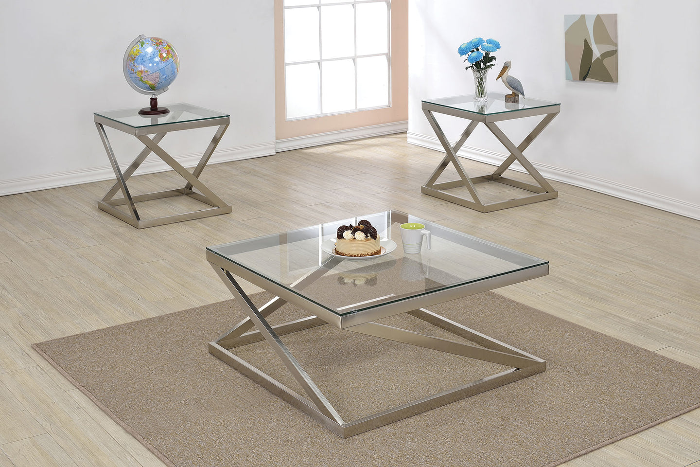 Acme 81140 Ollie 3 Pieces Brushed Nickel Clear Glass Coffee Table Set
