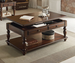 Acme 82745 Farrel Walnut Lift Top Coffee Table with Drawers