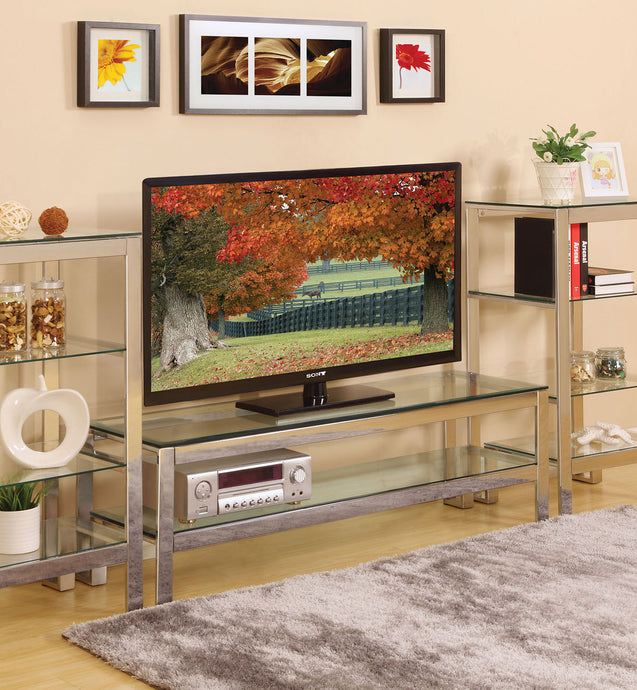 Acme 91270 Hajar Chrome Clear Glass Finish TV Stand