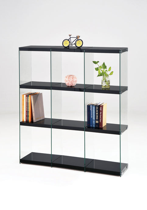Acme Baxter Black Clear Glass Finish Bookcase