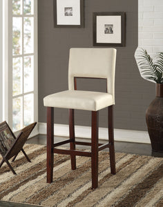 Acme Reiko White And Espresso PU Leather Finish 2 Piece Bar Chair
