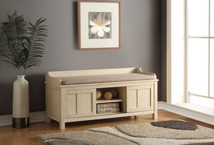 Acme 96620 Rosio Fabric Cream Finish Storage Bench