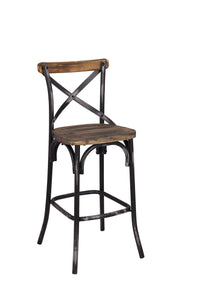Acme Zaire Walnut Antique Black Bar Chair