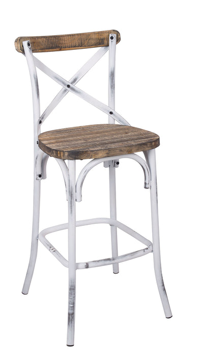 Acme Zaire Walnut And Antique White Metal Finish Bar Chair