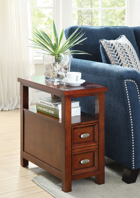 Acme Perrie Cherry Side Table With Drawers