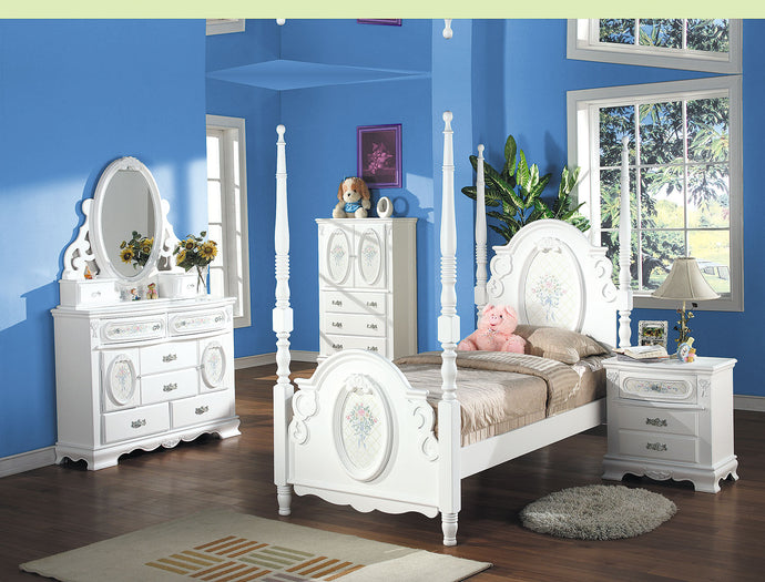 Acme Flora White Wood 4 Piece Twin Bedroom Set
