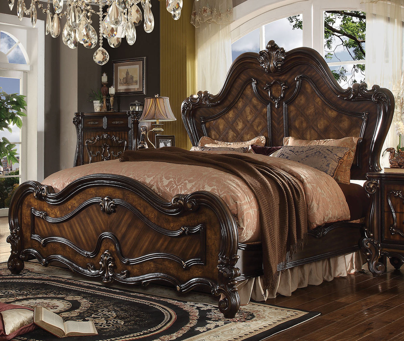 Acme 21784CK Versailles Cherry Oak California King Sleigh Bed