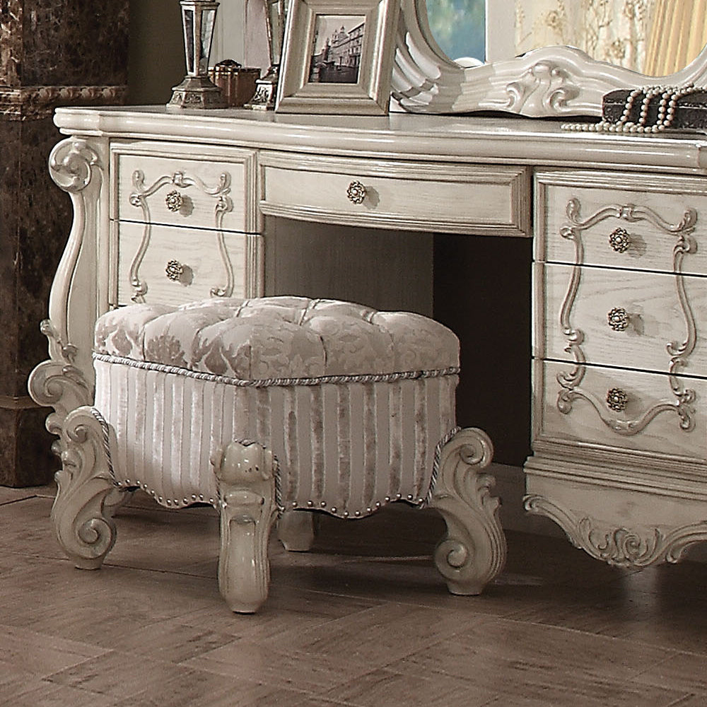Acme 21138 Versailles Bone White Finish Vanity Stool