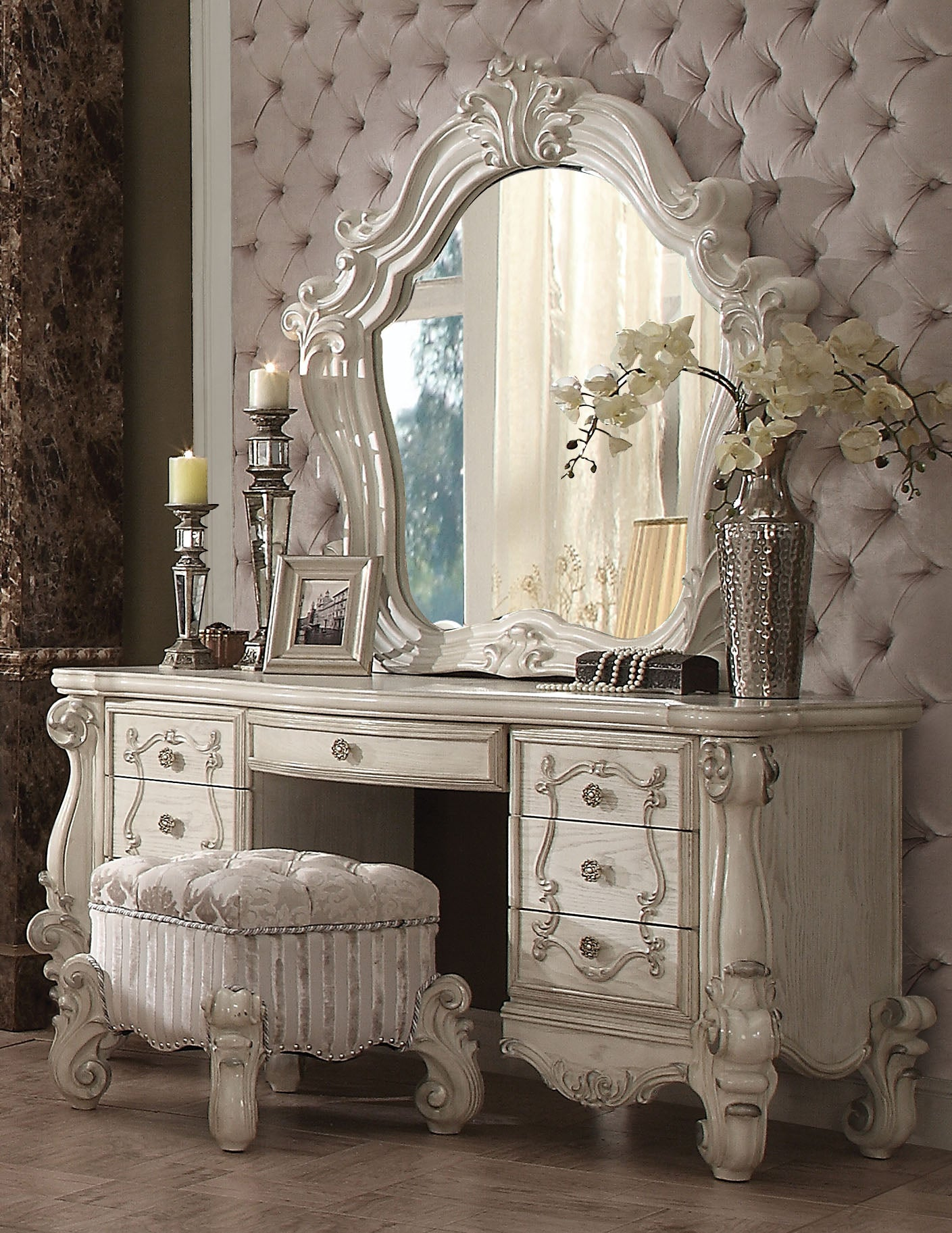 Acme 21137 Versailles 3 Pieces Bone White Dresser Vanity Set Stool Mirror