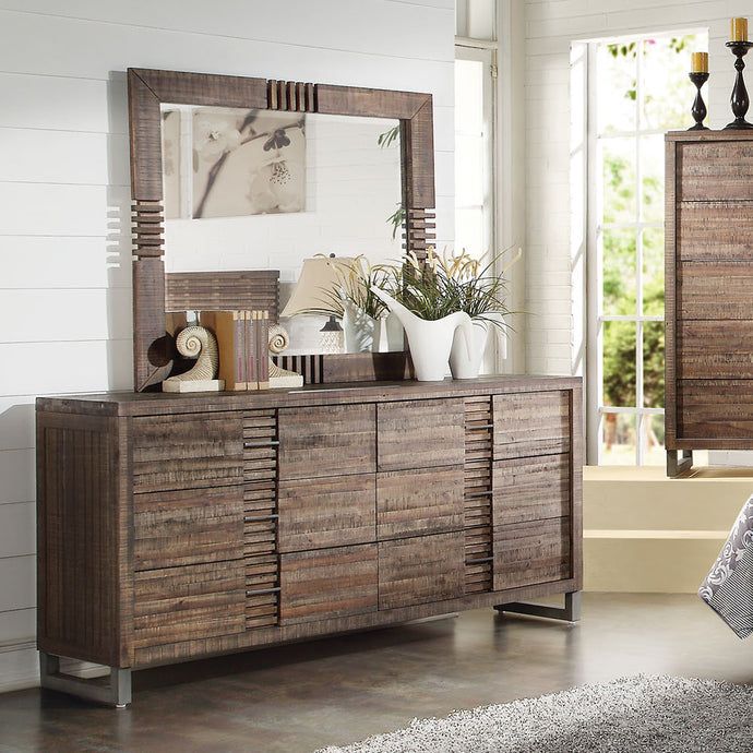 Acme Adria Recllaimed Oak -Drawer Dresser And Mirror