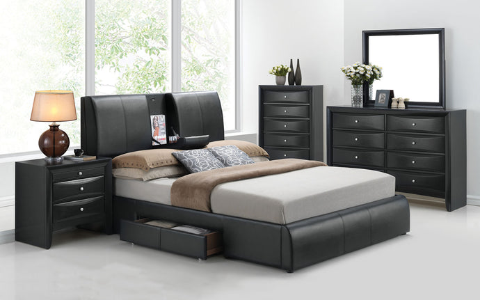 Acme 21266EK Kofi Black PU 4 Piece Eastern King Storage Bedroom Set
