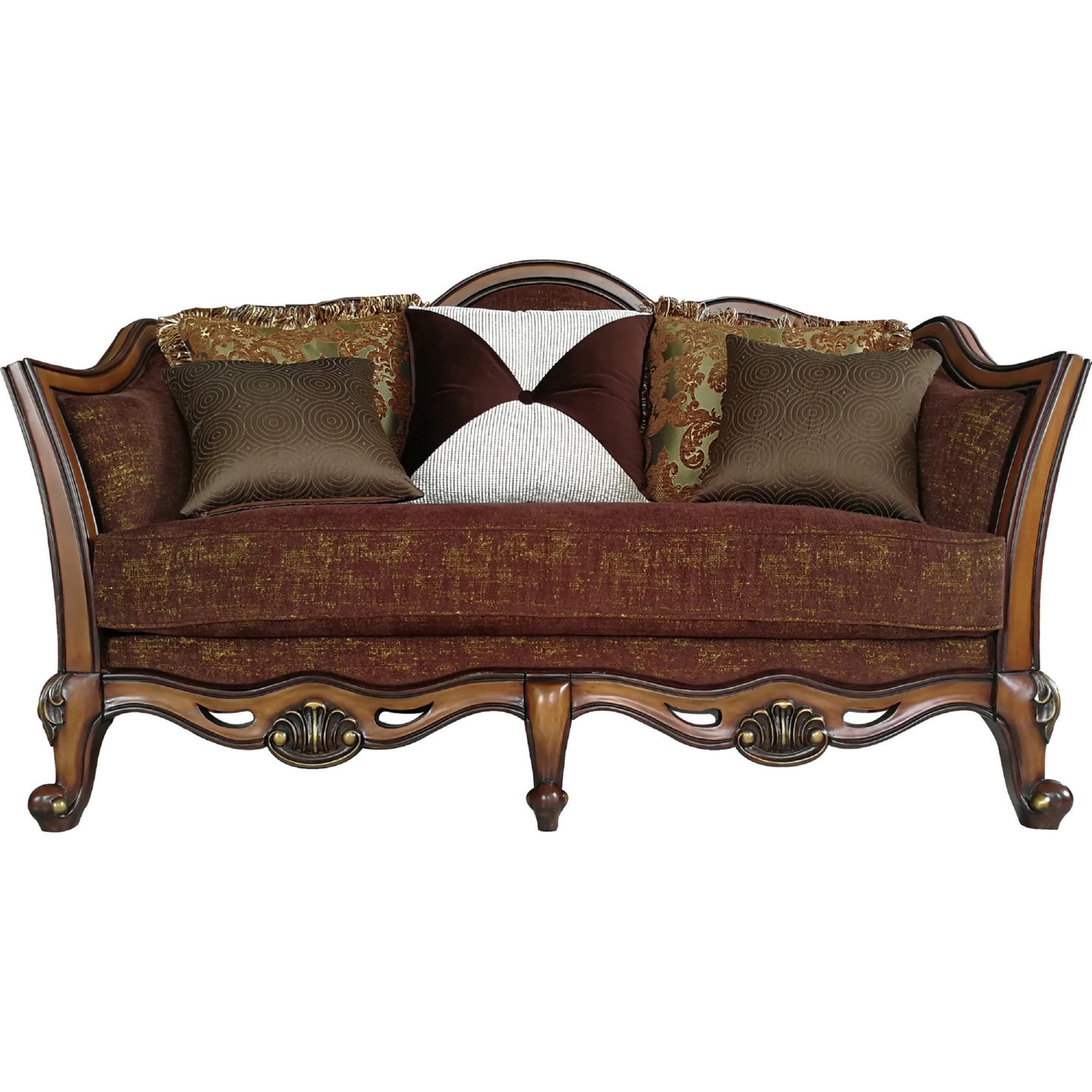 Acme Beredei Antique Oak Fabric And Wood Finish Loveseat