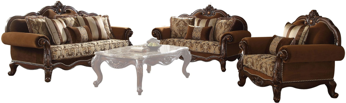Cherry Oak Solid Wood Finish Contemporary Sofa Set